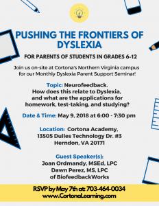 Dyslexia Seminar on May 4