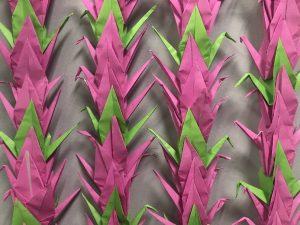 Paper cranes close up