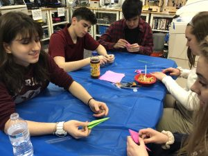 paper crane-making by students
